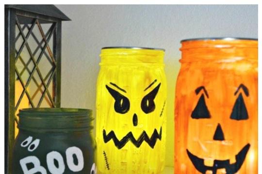 Halloween Monster Mason Jars