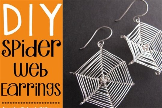 Halloween DIY Spider Web Earrings