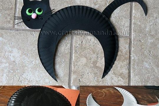 Halloween Paper Plate Black Cat