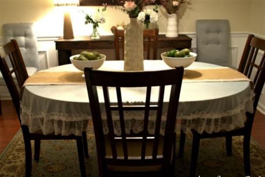 DIY No Sew Lace Trim Tablecloth