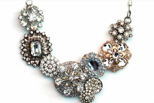 My DIY j. crew crystal flower lattice necklace