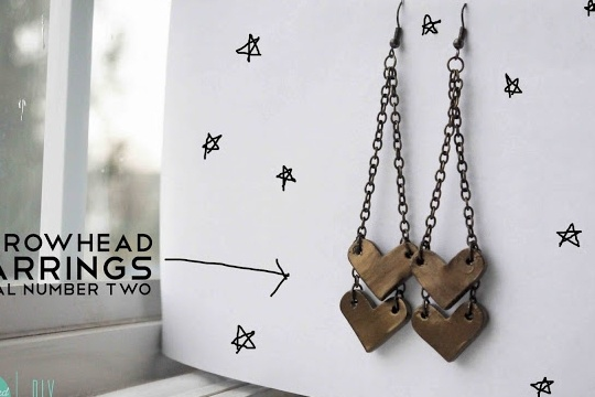 Diy: arrowhead earrings trial 2
