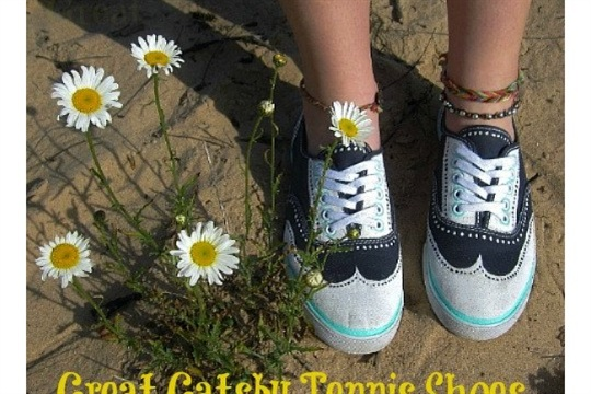 DIY Great Gatsby Inspired Hand Painted Tennis Shoes - Tutorial