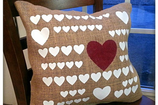 Hearts Lot Burlap Pillow Cover