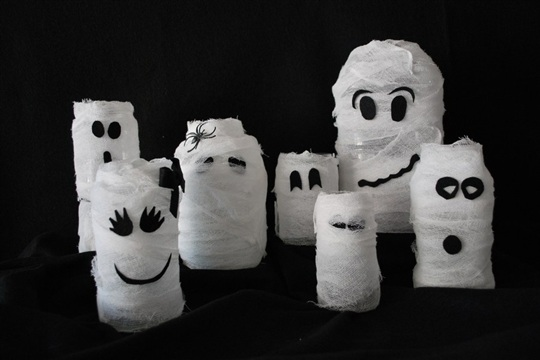 Halloween Ghost Decorations Made From Recycled Jars