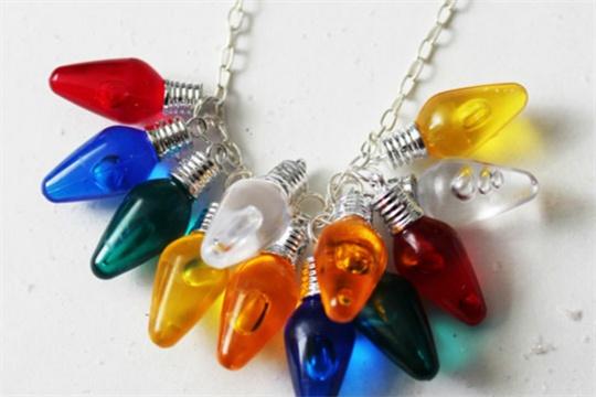 Christmas tree lights necklace