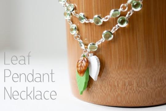 Leaf pendant necklace with martha stewart jewelry