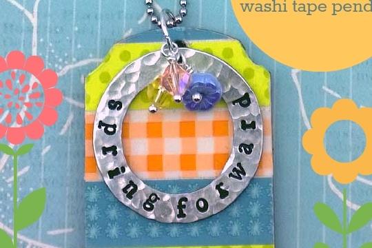 DIY metal stamped washi tape pendant