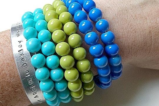 Memory wire beaded cuff bracelet