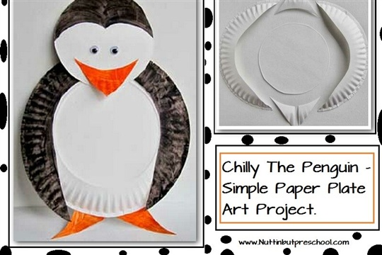 Chilly The Penguin Paper Plate Art Project