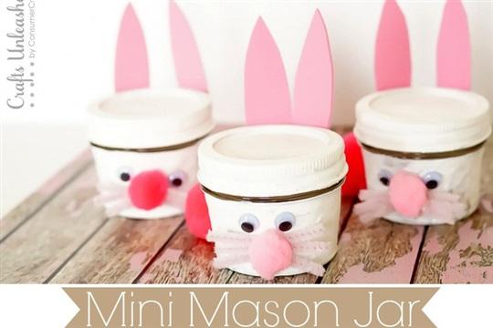 Bunny Crafts Mini Mason Jar Bunnies