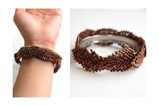 DIY Beaded Trim Bangle Bracelet