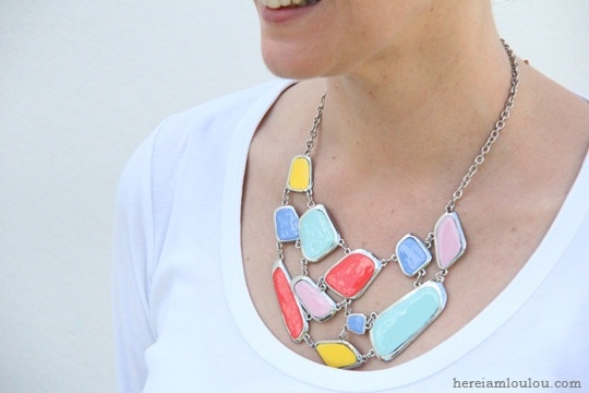 Diy: how to make a bright colour statement necklace
