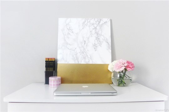 DIY Marble and Gold Canvas Wall Art