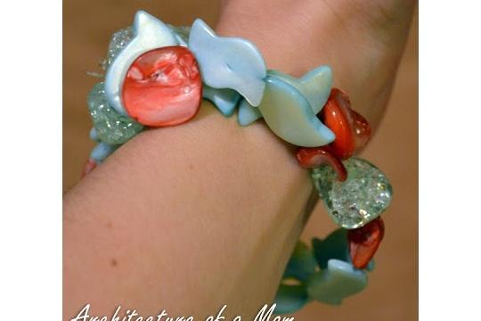 Aqua and coral beachy bracelet