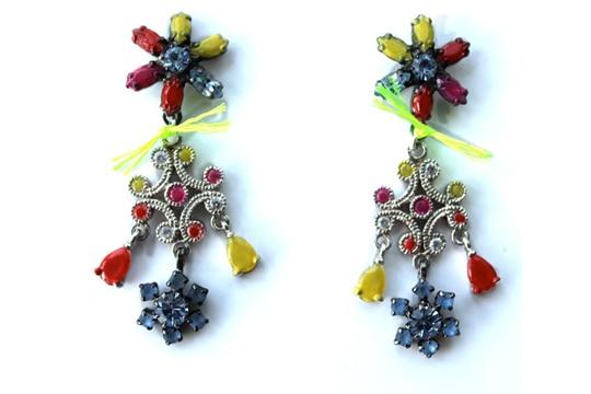DIY - neon jewel earrings