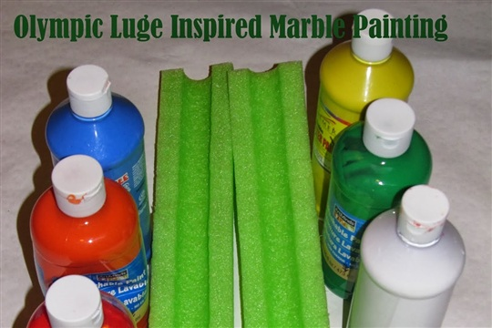 Olympic Luge Marble Painting