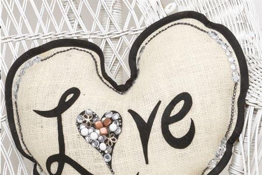 Sew It Yourself Burlap Heart Pillow