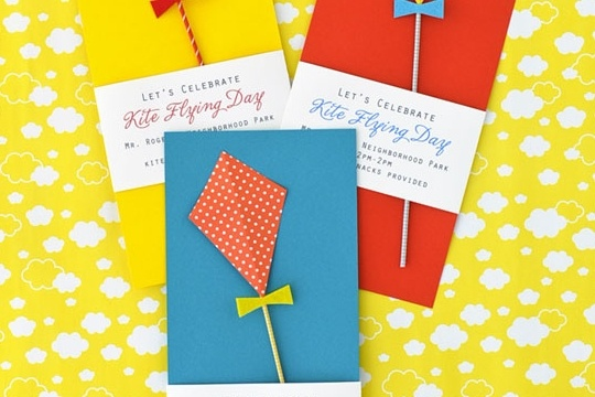 Kite flying day party invitation DIY