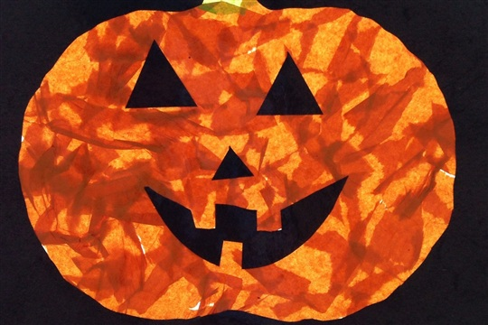 Simple craft for kids tissue paper pumpkin