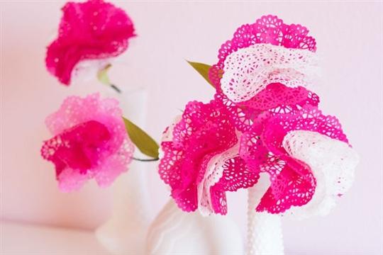 DIY Paper Doily Flowers