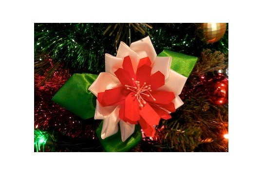 Sewing and Crafting with Sarah Christmas Ribbon Flower Ornament Tutorial