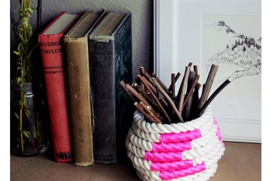 Diy project color block coiled rope basket