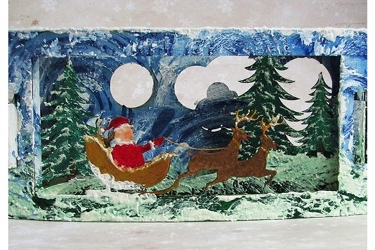 How to Paint 3D Chipboard Christmas Card by Marta De