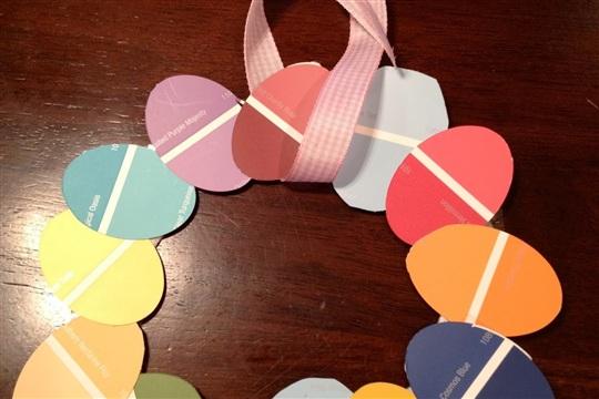 Paint Sample Easter Egg Wreath (Kid Friendly)