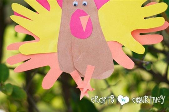 Create a Festive Cardstock Hand and Footprint Turkey