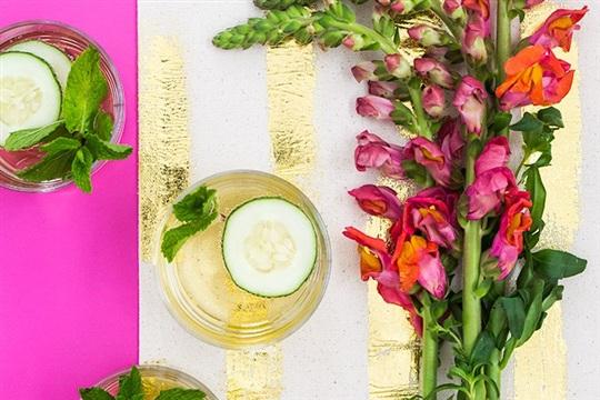 Bridal Shower: DIY Gold Foil Table Runner and Sparkling Elderflower Cocktails - Sarah Hearts