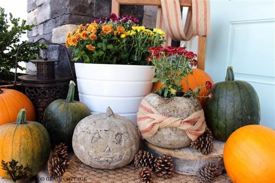 Concrete Pumpkins - The Wood Grain Cottage