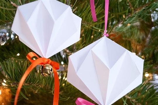 Jingle Mingle: Origami Diamond Jingle Bell Ornament