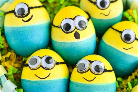 Dyed Minion Easter Eggs