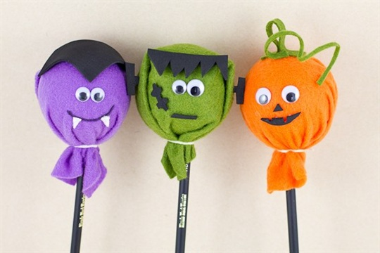 DIY Halloween Pencil Toppers Waffle Flower Crafts
