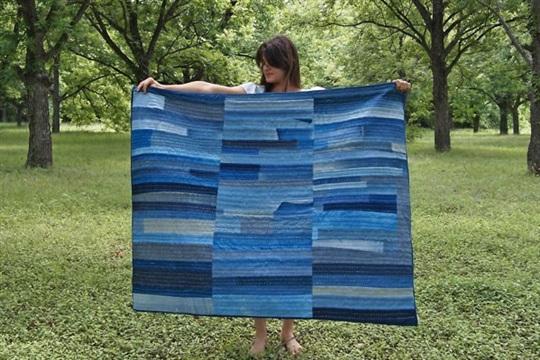 DIY denim patchwork quilt