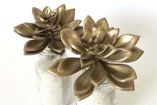 DIY Gold Succulents Tutorial for Fall Decor kraft&mint