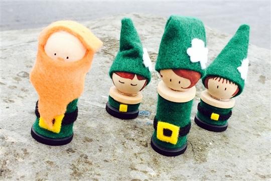 Leprechaun Peg Dolls St Patrick's Day Crafts