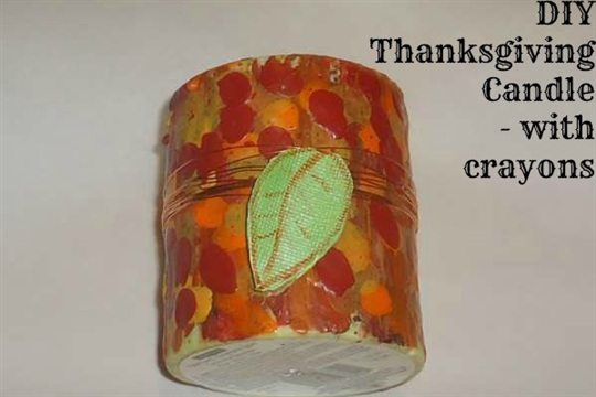 Crayon Painted Thanksgiving Candle