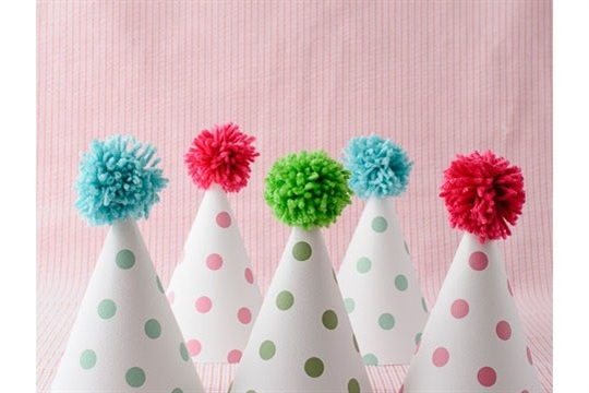 Printable Pom Pom Polka Dot Party Hats On Polkadot Chair
