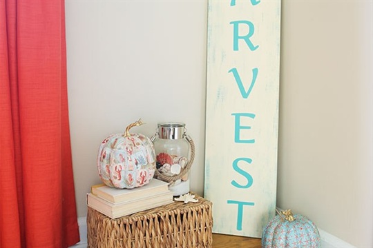 Giant DIY Harvest Sign Getting Coastal with Fall