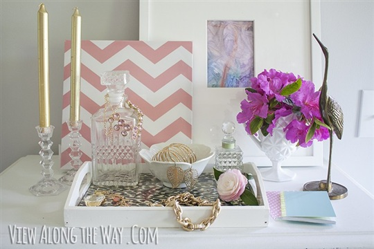 Make an easy DIY tray to display mementos, photos and more for only $8