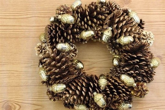 Gilded Pinecone Wreath Idea ~ Madigan Made