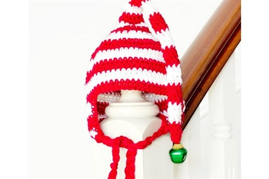 Baby Candy Cane Elf Hat Crochet Pattern