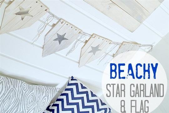 Beachy Wood Shim Star Bunting and Wood Flag (tutorial)!