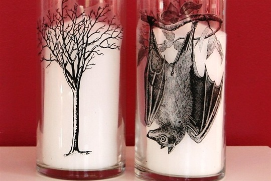 13 Days of Halloween DIY Spooky Hurricane Glass Candle Holders