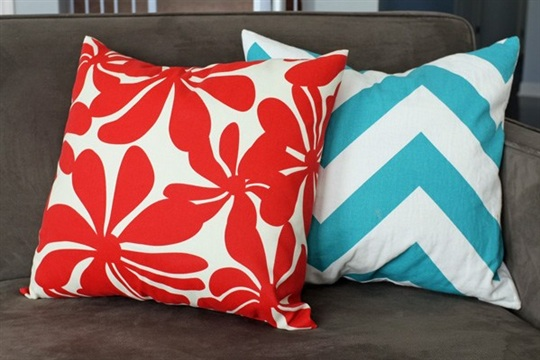 How to Easy Envelope Pillow Covers Teal and Lime by Jackie Hernandez