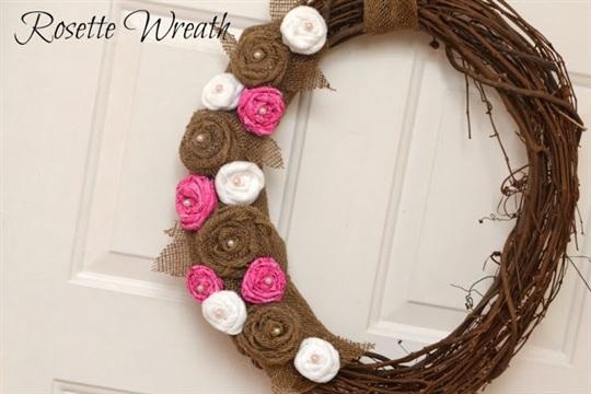 Burlap Rosette Wreath for Spring