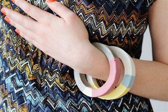 How to Create Concrete Color Block Bangles