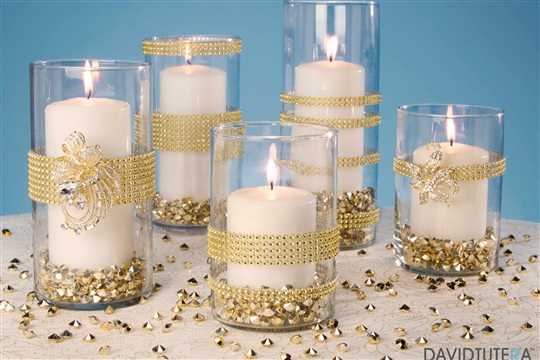 Gold Rhinestone Candle Holders